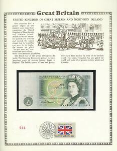 Great Britain 1 Pound 1978-84 P 377b UNC w/FDI UN FLAG STAMP Prefix AN13