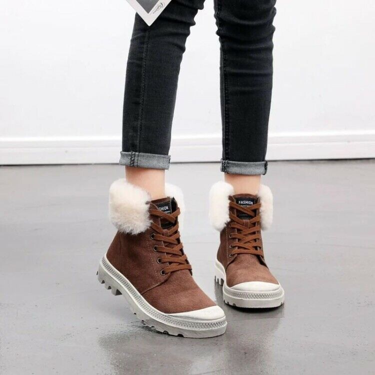Women Faux Fur Lace Up Flat Casual Round Toe Ankle Boots Fashion Booties Solid
