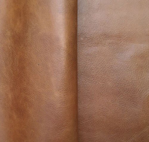 LEATHER PIECES OF COWHIDE 3 @ 20 CM X 15 CM ANTIQUE TAN 1 mm THICK PULL-UP