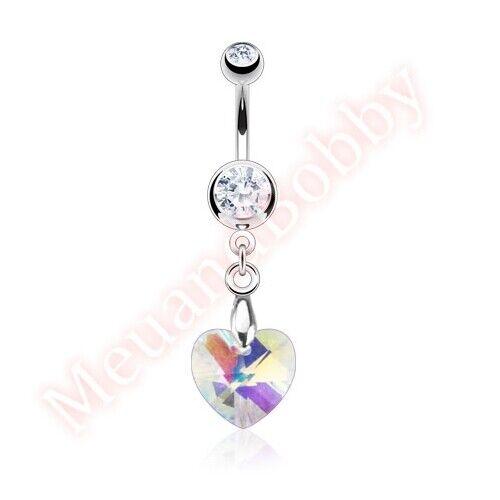 Gem Fancy Love Heart Belly Button Navel Bar Ring Dangle Body Piercing Jewellery