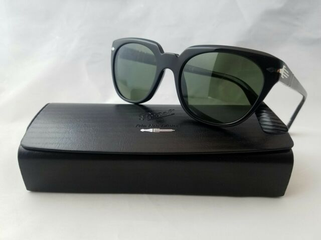 PERSOL 3111-S 95/31 GLOSSBLACK GREEN LENS SUNGLASS MADE IN ITALY
