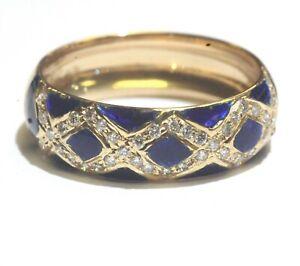 18k-yellow-gold-21ct-VS-G-round-diamond-blue-enamel-ring-5g-estate-vintage