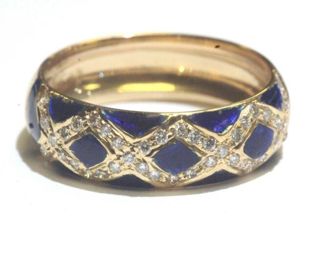 18k yellow gold .21ct VS G round diamond blue enamel ring 5g estate vintage