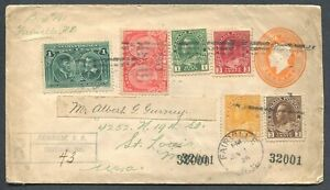 CANADA-MULTIPLE-FRANKING-FOREIGN-DESTINATION-REGISTERED-COVER-TO-ST-LOUIS-MO