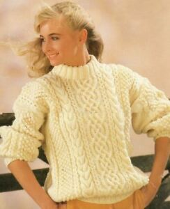 a1ccf7c33 Knitting Pattern Lady s Fab Aran Cable Sweater 80-110 cm (200)