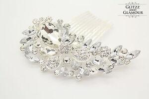 BRIDAL-WEDDING-CRYSTAL-DIAMANTE-HAIR-COMB-CLIP-SLIDE-FASCINATOR-G-STUNNING