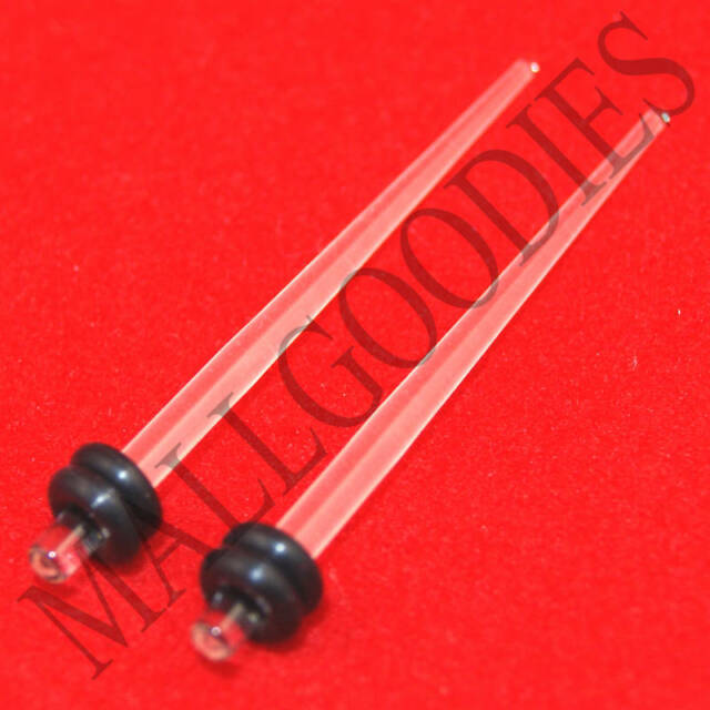 E#29-12pc Clear Acrylic Tapers 00g,0g,2g,4g,6g,8g Expanders Tapers Stretchers