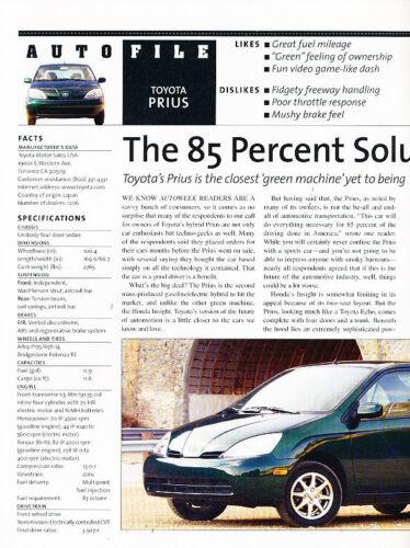 2001 Toyota Prius Hybrid AutoFile Classic Article A14-B