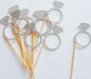 BRIDE-TO-BE-DIAMOND-RING-GLITTER-CUPCAKE-TOPPERS-HENS-BRIDAL-PARTY-SHOWER