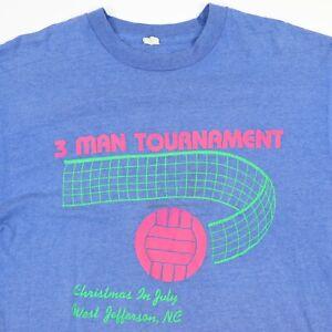 Vtg-80s-Volleyball-Tournament-T-Shirt-L-Faded-Screen-Stars-Single-Stitch-USA