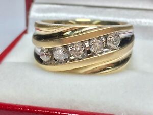1-Ct-Round-Cut-Sim-Diamond-14K-Yellow-Gold-Five-Stone-Mens-Wedding-Band-Ring