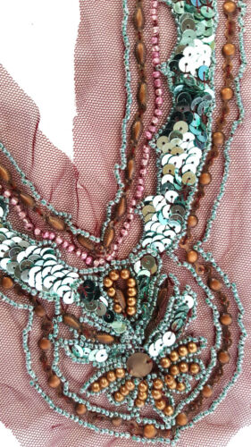 Mesh Base Neck Appliqué//Neck Trim//Sewing Piece Large Beaded Sequined