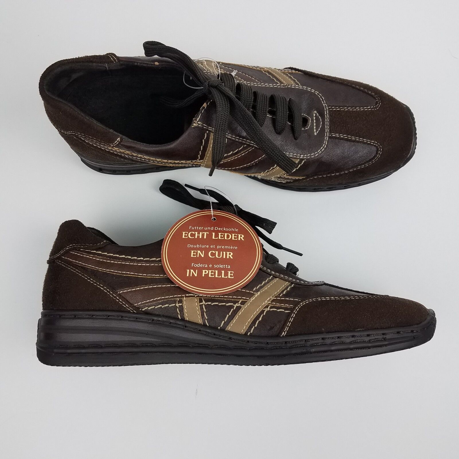 Bonne Forme Brown Women's Leather Walking shoes Sneakers Casual NWT size 7 RARE