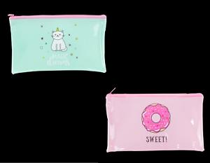 Unicorn Pencil Case Girls Fun Pink or Green Doughnut Unicorn Strong PVC with Zip