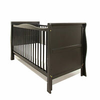 Pinewood Black Sleigh Cot Bed-quality Safety Mattress-baby Cotbed/junior Bed