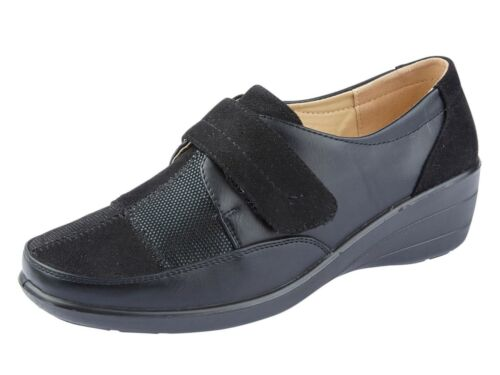 Ladies Faux Leather Patchwork Touch Close Strap Casual Low Wedge Flats  Moccasin