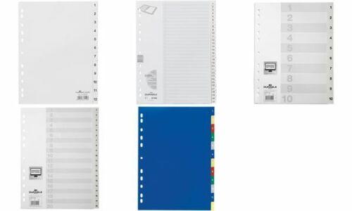 DURABLE Kunststoff-Register Zahlenregister 1-20 DIN A4 Universallochung 20 tlg