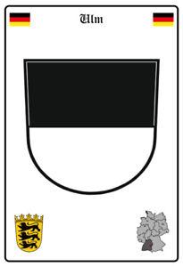 Ulm-Deutschland-Wappen-Blechschild-Schild-gewoelbt-Metal-Tin-Sign-20-x-30-cm