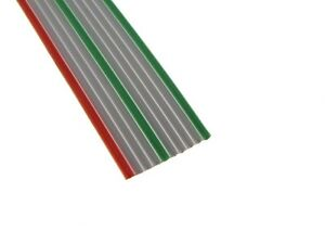10ft Red Gray Green Flat Ribbon Zippable Cables 10