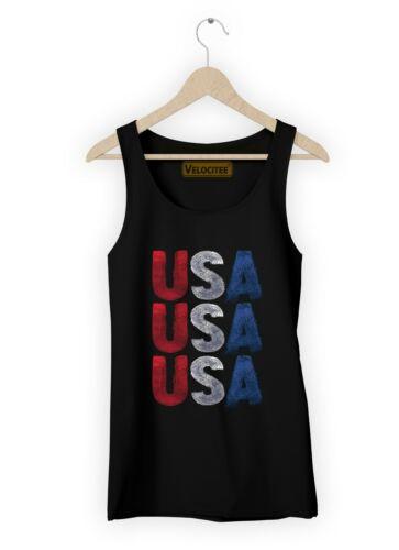 Velocitee Ladies Vest USA America American Design Slogan A21702