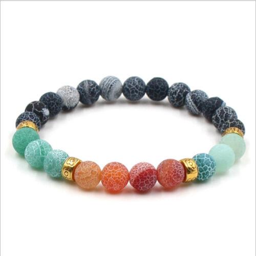 Fashion 8mm Natural Lava Stone Tiger Eye Beaded Men/'s Bracelets Jewellery Gift