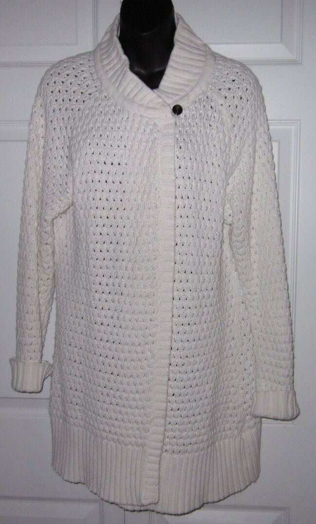 Eddie Bauer Womens Cute Long Cardigan Cotton Blend Knit Sweater L