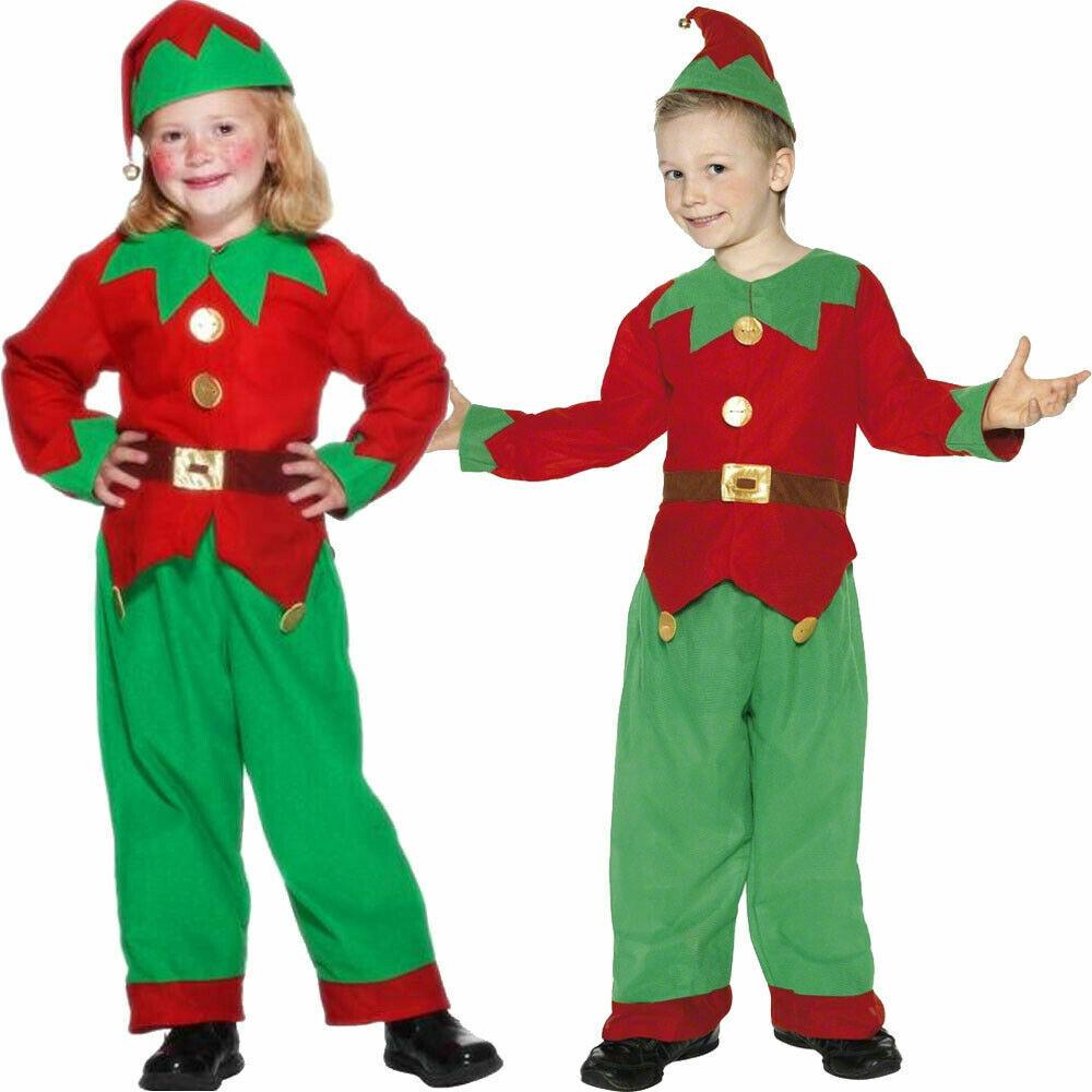 CHILDS ELF COSTUME BOYS GIRLS CHRISTMAS XMAS SANTAS LITTLE HELPER FANCY DRESS