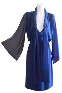 VINTAGE-HARAH-DESIGNS-CHIFFON-KNEE-LENGTH-kimono-sleeve-formal-evening-dress