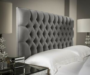 huge selection of fcd74 a4426 Details about CHESTERFIELD GREY HEADBOARD - WHITE LEATHER, BLACK VELVET,  GREY SUEDE, BUTTONS