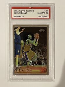 1996-97 KOBE BRYANT TOPPS CHROME ROOKIE RC #138 PSA 10 GEM MINT HOF LAKERS