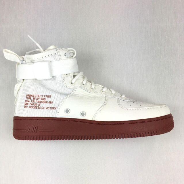 b4ddee7c896 Nike SF Air Force 1 Mid Mens 917753-100 Ivory Mars Stone Red Shoes ...