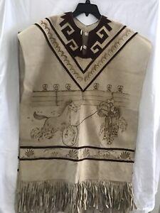 western motif poncho à de avec Serape en daim franges unique Taille xg1Fnnq