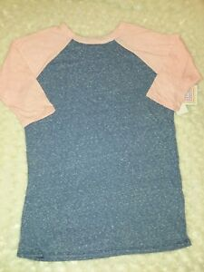 Lularoe-Kids-Sloan-Blue-Light-Orange-Raglan-Sleeve-Top-Sz-14-Girls-Nwt-Solid