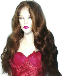 Glueless-Lace-Wig-Human-Hair-Indian-Remi-Remy-Brown-Mix-Long-Wavy-Bodywave
