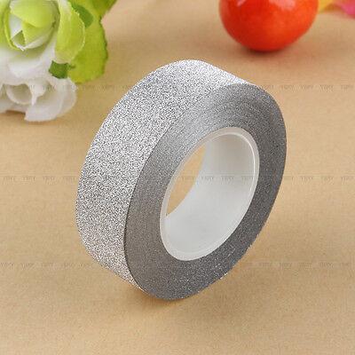 Fine 10M Glitter Washi Sticky Paper Masking Adhesive Tape Label DIY Craft Decor