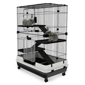 3 Tier Rabbit Cage Small Animal Crate Hutch Pull Out Tray
