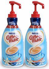 2 French Vanilla Coffee Creamer Non Dairy Liquid Pump Dispenser No Refrigeration