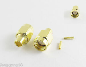 10-RP-SMA-Male-Jack-Female-Pin-Solder-Semi-Rigid-RG402-0-141-034-Cable-RF-Connector