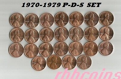 COMPLETE SET 1970-1979 P-D-S UNCIRCULATED LINCOLN MEMORIAL CENTS