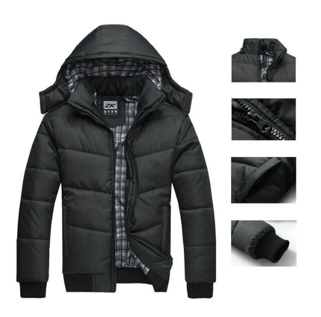 2014 Men's Winter Warm Thicken Stand Collar Jacket Outwear Coat Parka  Black