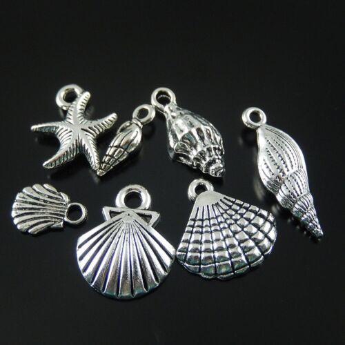 15pcs Assortiment Argent Ancien Alliage Sea Shells collier pendentif bijoux cadeaux