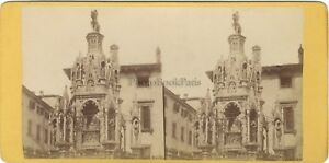 Verona Arca Scaligere Italia Foto Stereo Vintage Albumina