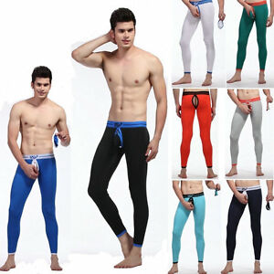 Men-039-s-Warm-pants-Long-johns-Thermal-Removable-pouch-Sexy-rings-hollow-Underwear