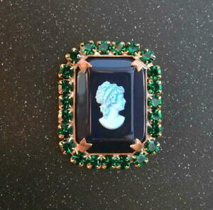 Vintage-Style-Czech-ALL-Glass-Rhinestone-Pin-Brooch-T179-SIGNED