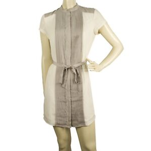 Armani Exchange White Gray Small Pleats Belted Mini Length