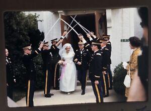 Vtg-Color-Photo-35mm-Slides-Lot-of-3-1970s-Wedding-Crossed-Swords-Military-Korea