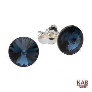 Image Is Loading Swarovski Elements Navy Blue Stud Earrings Sterling Silver