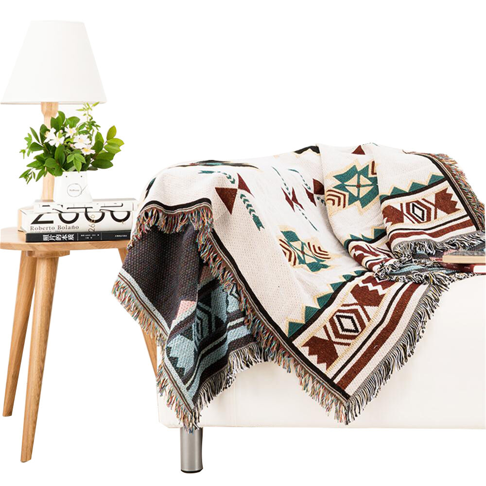 Woven Cotton Tribal Ethnic Geometric Blanket Throw Rugs Sofa Tapestry Jacquard