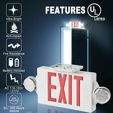 Led Exit Sign Light Dual Emergency Lamp Compact Combo Red Lighthi Ul Listed
