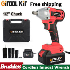 500nm 12 Electric Impact Wrench Cordless Brushless Gun With Battery Driver Tool